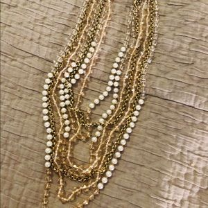 Pearl, gold and champagne multi beaded necklace